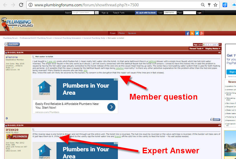 Link from Online Plumbing Community